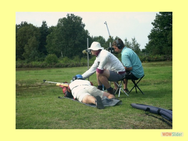 Ant Ringer and Rich Stewart coach Glyn Barnett in the County Long Range match, Bisley 2004.