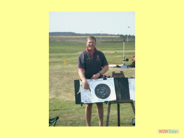 Nigel Ball, winner of the St. George's, points out one that got away at 1,000 yards in the Queen's Prize Final, Bisley 2004.
