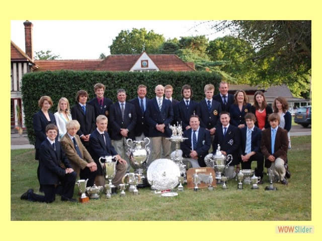 Members of Norfolk's County Short Range Championship-winning team and the Gresham's School Ashburton-winning squad with the trophies won by both organisations.